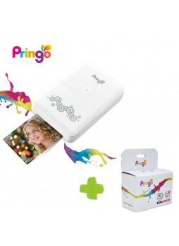 Pringo Portable Wifi Photo Printer P231 ( White) with Ribbon Set and Photo Paper (30 sheet)