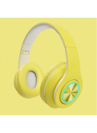 Proocam B-39Y Macaron LED Colorful Light 5.0 Bluetooth Headset Wireless Earphones HiFi Stereo Bluetooth Headphone Yellow