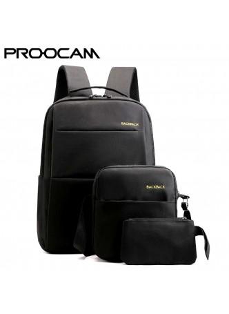 PROOCAM BLB-310BK 30L 14 15 16 inch 3 in 1 laptop bag wallet sling bag lifestyle Fashion Waterproof Business Travel Bag Black