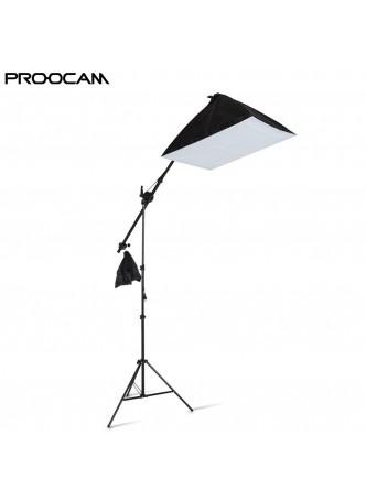 Proocam BSS-85 ceiling set boom 200cm light stand square soft box kit 3 colour LED bulb photography light (50x70cm)