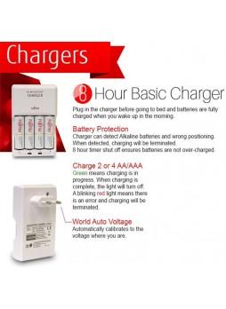 Fujitsu Basic Charger 4pcs Battery with 4pcs 2000mah 1800cycle rechargeable Battery