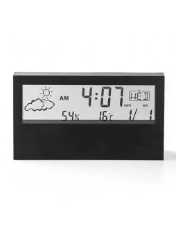 G-21585B Transparent Digital Alarm Clock tempurature calender Silent Smart Weather Electronic Desktop Clock Black
