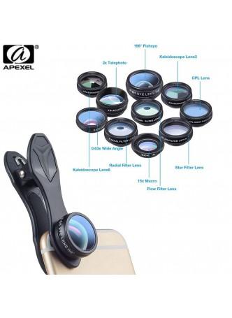 Apexel 10in1 Phone camera Lens Kit Fisheye Wide Angle macro 2X telescope Lens (APL-DG10)