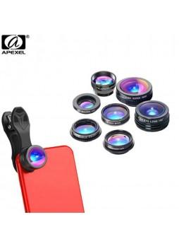 Apexel 7 in 1 mobile phone Lens Kit 0.36X Wide Angle Macro Lens CPL 2X Telescope Lens (APL-DG7)